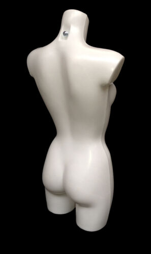 HIGH QUALITY FEMALE FREESTANDING MANNEQUIN TORSO BODY FORM DISPLAY BUST WHITE