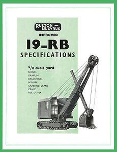 Ruston Bucyrus 19RB Shovel Dragline Specification Book
