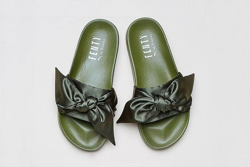 RIHANNA PUMA X FENTY OLIVE GREEN 3 BOW SLIDES UK SIZES 3 GREEN & 4 BRAND NEW IN BOX 61f95f