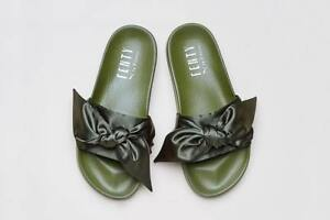 new style da28a 683b8 Details about RIHANNA PUMA X FENTY OLIVE GREEN BOW SLIDES UK SIZE 3 BRAND  NEW IN BOX