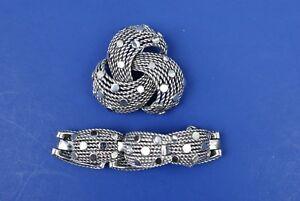 VINTAGE-Signed-MB-Marcel-Boucher-Art-Deco-Silver-Tone-Brooch-amp-Bracelet-Set-6737