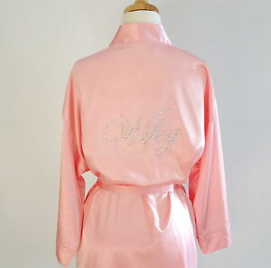 Image Is Loading Pink Satin Bride Robe Wifey Wedding Robes