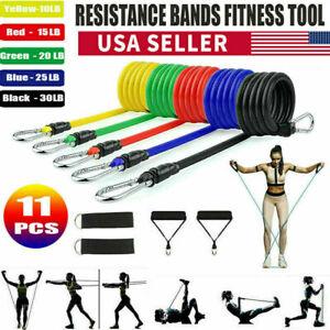 11PCS Resistance Band Sets Yoga Pilates Exercise Fitness Tube Workout Bands USA