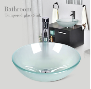 Bathroom Round Tempered Frosted Glass Vessel Sink Faucet Pop Up Drain Combo Ebay