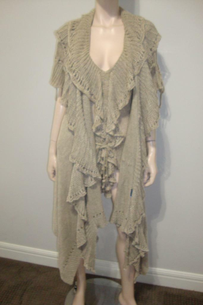Ralph Lauren bluee label 100% linen Tan knit Top and Duster Size L