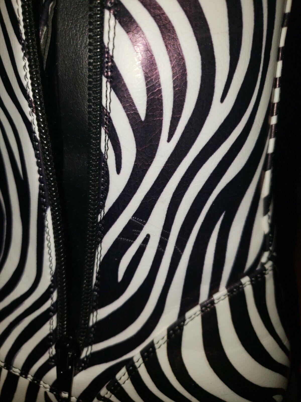 cinak mid calf zebra print womens size 7 boots - image 9