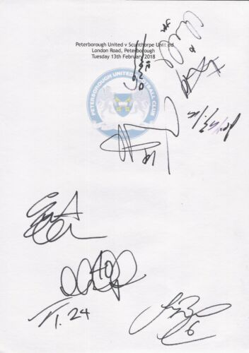 2 A4 cards with Peterborough United Badge. Signed by 18 players on 13.02.2018.