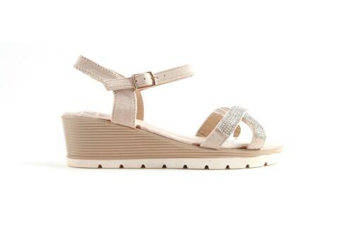 Womens Ladies Flat Low Wedge Diamante Summer Sandals Embellished Low Heel Size