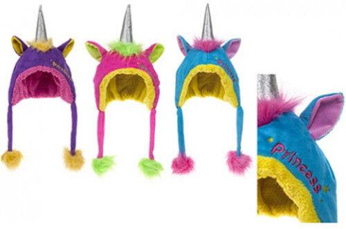 UNICORN PRINCESS Fleece Hat Girls HORN EARS POMPOMS Winter Warm  3-6 Years BNWT