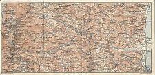 Carta geografica antica SILA GRANDE da COSENZA a CROTONE TCI 1928 Antique map
