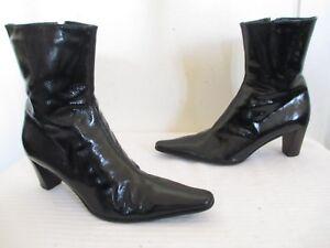 Details About 495 Aquatalia By Marvin K Tap P Black Patent Leather Ankle Boots Sz 7