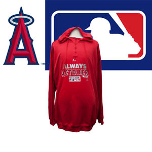 Mens-Los-Angeles-Angels-Majestic-Red-2014-MLB-Playoffs-Always-October-Hoodie-5XL