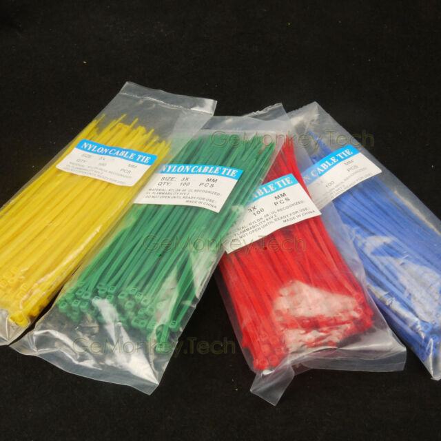"400PCS Multi-Colored Assorted Nylon Cable Ties, Zip Ties, Adjustable 8"" 3*200mm"