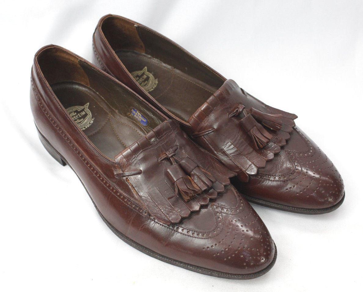 FLORSHEIM BURGUNDY CORDOVAN  LOAFERS DRESS SHOES Sz 8 D 33502 Tassle Kilt