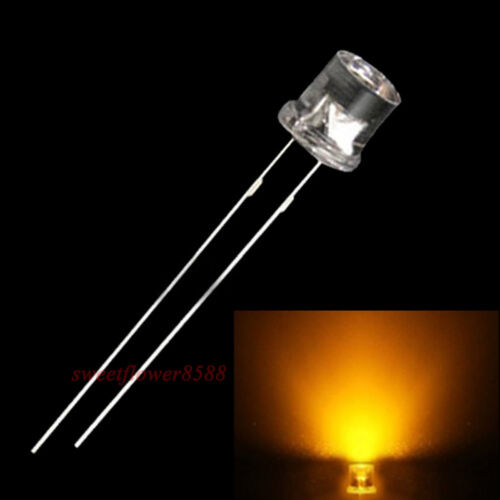 50pcs 5mm Flat top Yellow LED Wide Angle Flat Head Light lamp New Free Shipping