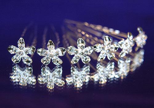 6 stk X Braut Hochzeit Blume Silber Vernickelt Kristall Haarnadeln P1059
