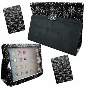 Brillantina-Negro-Mariposa-Diseno-Flores-Piel-Artificial-Funda-para-Apple-iPad-2