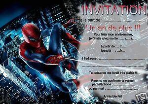 Détails Sur 5 Ou 12 Cartes Invitation Anniversaire Spiderman Réf 268