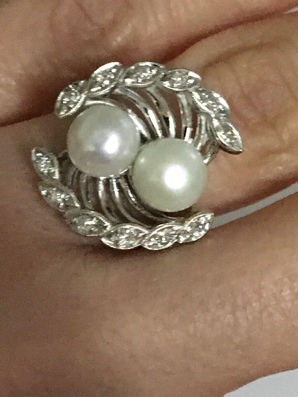Vintage pearl and diamond Ring, Pearl and Diamond… - image 9