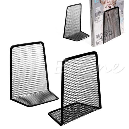 1 Pair Metal Mesh Black Desk Organizer Desktop Office Home  Bookends Book Holder