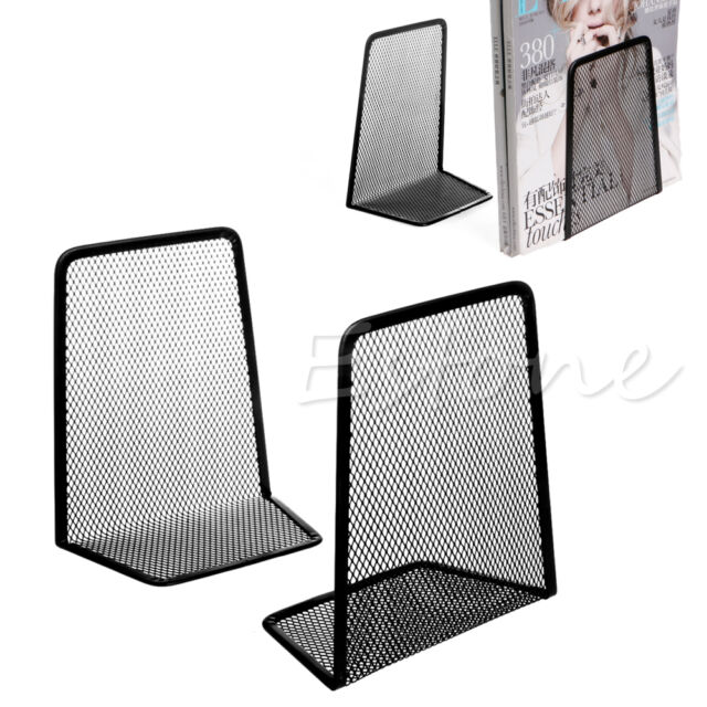 1 Pair Metal Mesh Desk Organizer Home Desktop Office Bookends Book Holder  Black