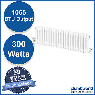 Traditional Classic Colosseum Horizontal Double Bar Radiator 300 x 1000mm White