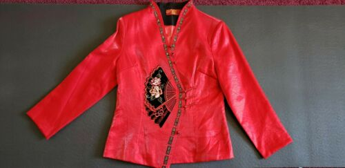 Burgundy Red Vest Chinese Collar Mandarin Paris Vanex Shimmery Fabric Floral Formal Sleeveless Jacket Button Pockets Boho Blazer Cheongsam
