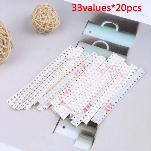 0805 SMD resistor kit assorted kit 1ohm-1M ohm 1/% 33values x 20pcs=660pcs NWUS