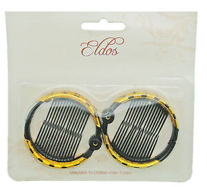 Image Is Loading Black Ring Comb Hair Clip Medium Size 2pc