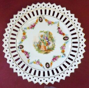 """China Plate Germany Lattice Cut Lord Lady Courting Rose Garland Gold trim 7"""""""