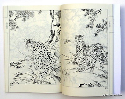 Chinese painting book album of animals baimiao xianmiao tattoo modle brush art