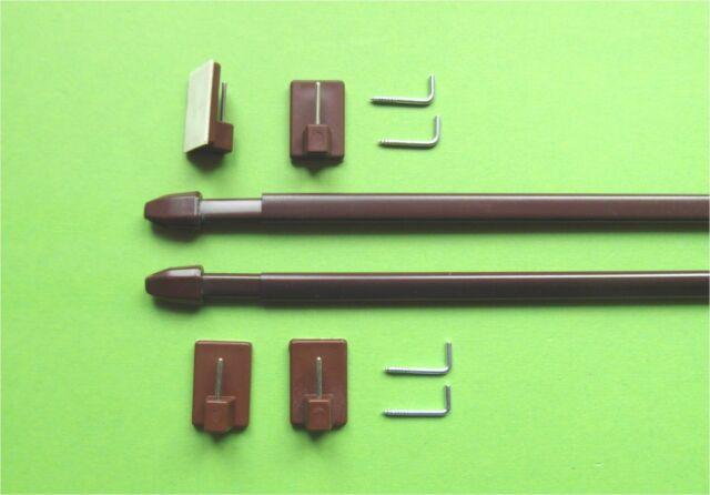 2 Vitragestangen Fensterstangen braun 60 - 90 cm +  4 Klebehaken +4 Schraubhaken