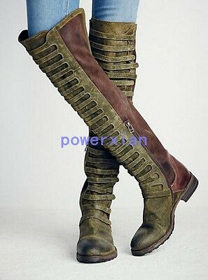 Vintage Womens Knee High Boots Design Luxury Long Leather Thigh Riding Boots 9