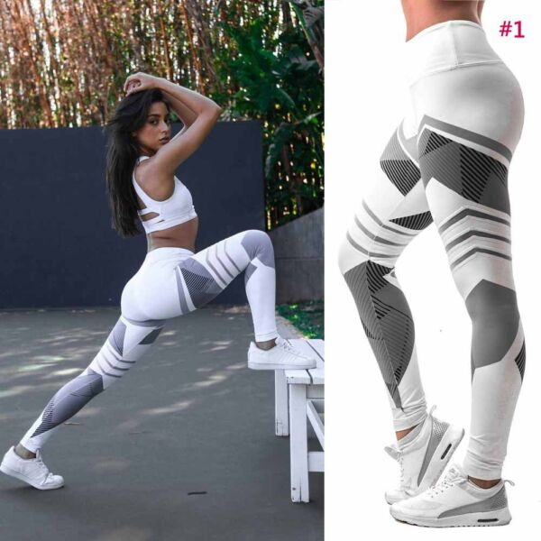 Damen Fitness Leggings Running Stretch Sports High Waist Hose Trainingshose L/P
