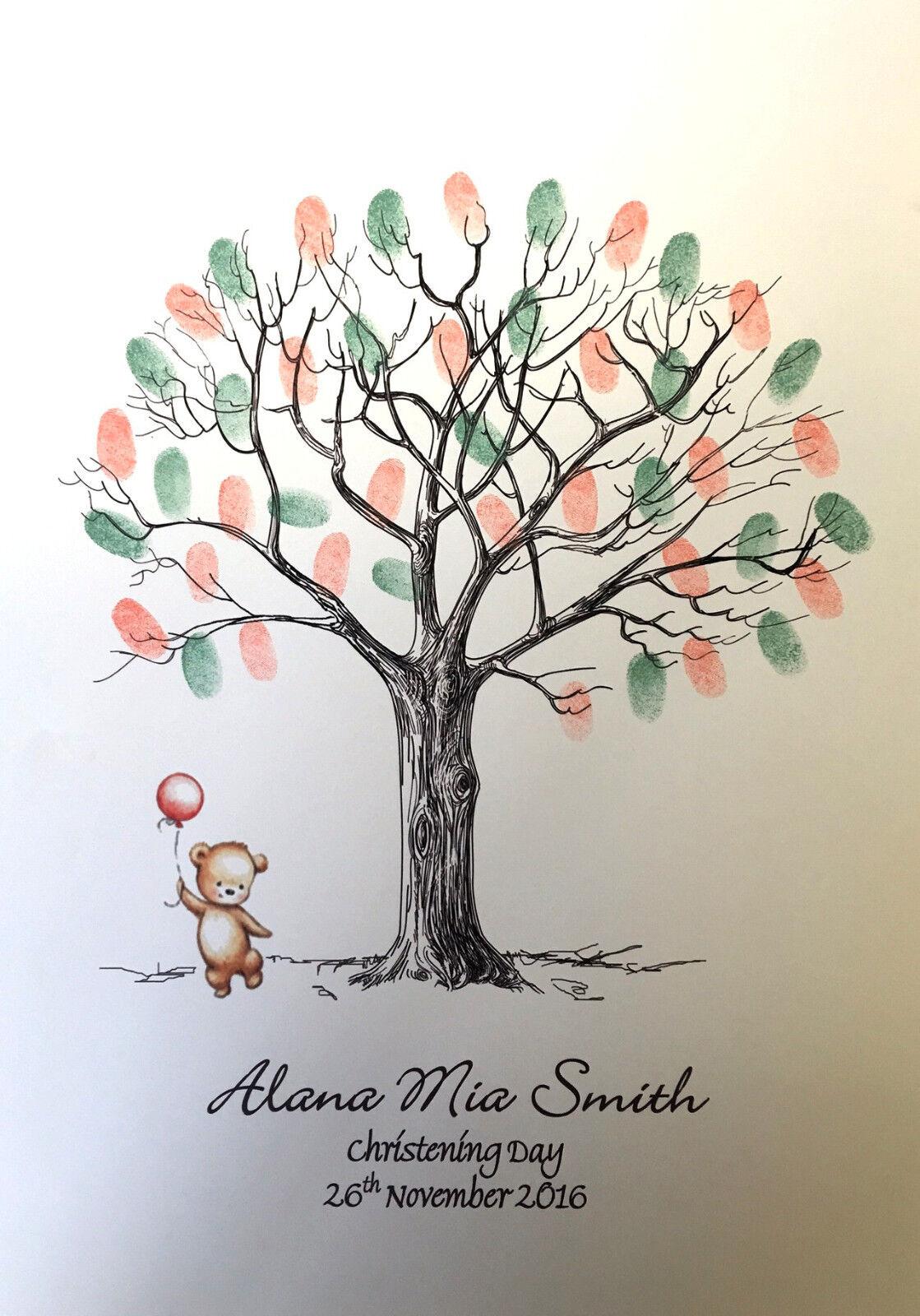 Christening  Family  Christmas Fingerprint Tree with Bear & Balloon