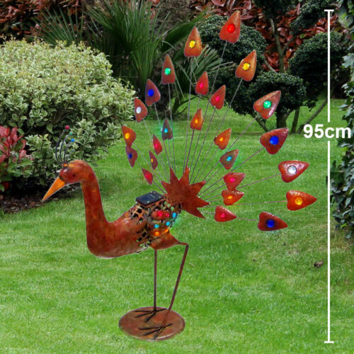 LED solar decoration peacock rust colored garden lighting outdoor lamp bird IP44