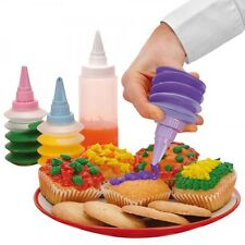 Cupcake Dekorations-Set 4 tlg. Kuchen Dekoration Garnier Tüllen Spritze Deko