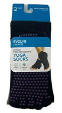 Evolve By GAIAM 2 Pack Grippy Yoga Toe Socks Unisex Women 5-10 Men 4-9 NEW