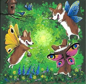 PRINT OF PAINTING PEMBROKE WELSH CORGI RYTA FOLK ART PAINTING RAINBOW ART FAIRY