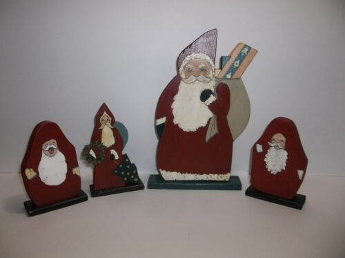 Vintage Folk Art CHRISTMAS PAST Wood SANTA Figures Hand Painted SIGNED Set Of 4