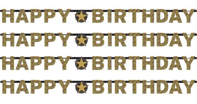 Noir & doré brillant Happy Birthday Bannière de lettres Décoration pour fête