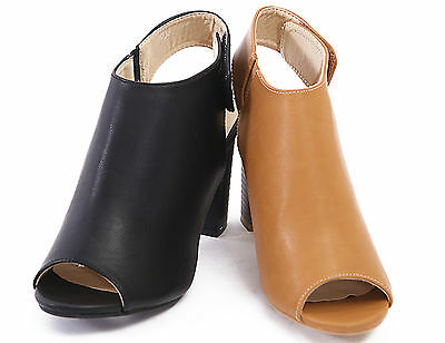WOMENS CUT OUT PEEP TOE LADIES BLOCK HEEL VELCRO OPEN BACK ANKLE BOOTS SHOES