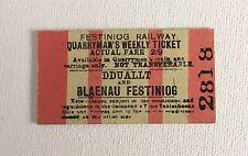 Old Vintage 1960s Welsh Festiniog Railway Train Ticket - Quarrymans Weekly