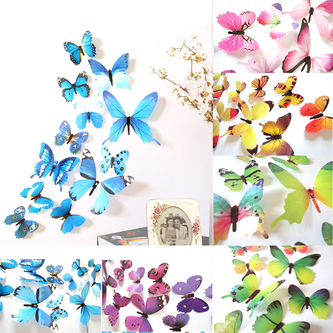 Home Decoration - 12pc PVC Wall Stickers Home Party Decoration 3D Butterfly Rainbow Decal Decor b1