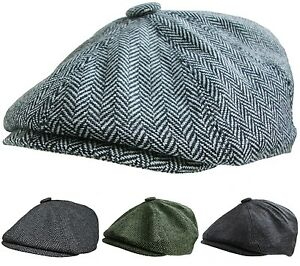 Mens Newsboy Cap Peaked Baker Boy Peaky Blinders Type Hat