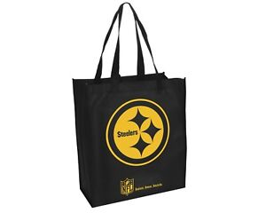 50dc540b855 Image is loading Pittsburgh-Steelers-NFL-Printed-Reusable-Grocery-Tote-Bag-