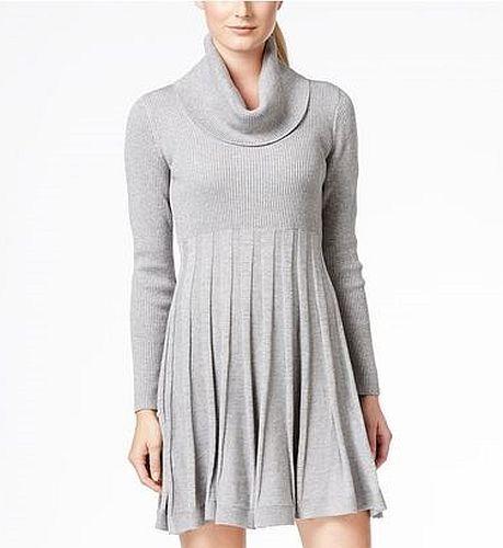 Calvin Klein Plus Size 2x Cowl Neck Sweater Dress Long Sleeve Silver
