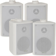 "2x Pair 2 Way Compact Stereo Speakers - 3"" 60W 8Ohm- White Wall Mounted Surround"