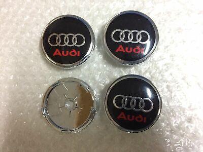 RED Audi Alloy Wheel Centre Caps x4 60mm 4B0601170 A 1 2 3 4 5 6 7 Q RS SLINE