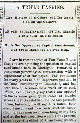 Brilliant 1889 Detroit Mi Newspaper 3 Young Boys 17 Yrs Old Executed By Hanging For Murder